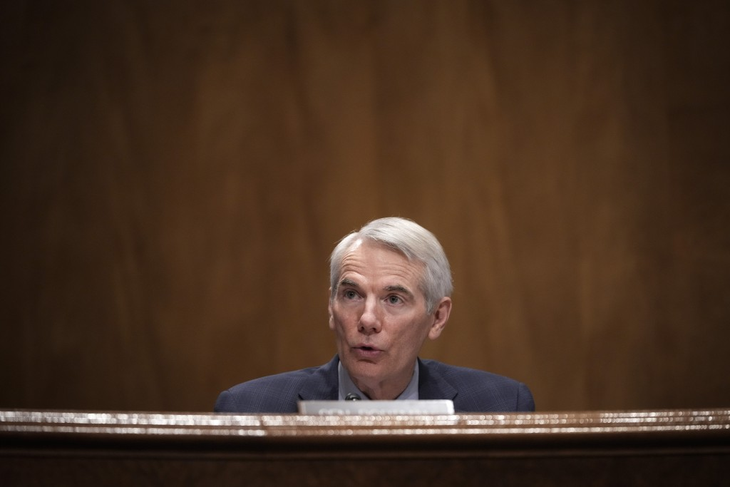 Ranking member Sen. Rob Portman, R-Ohio, questions Deanne Criswell, President Joe Biden's choice to be FEMA administrator, as she testifies at her con...