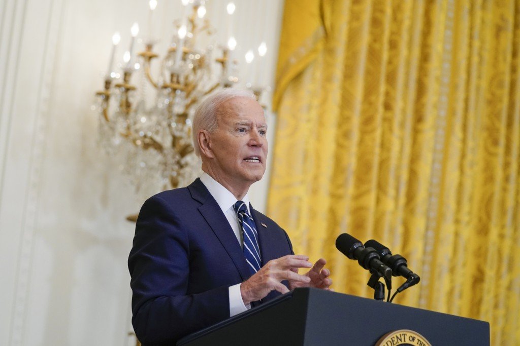 President Joe Biden speaks during a news conference in the East Room of the White House, Thursday, March 25, 2021, in Washington. (AP Photo/Evan Vucci...