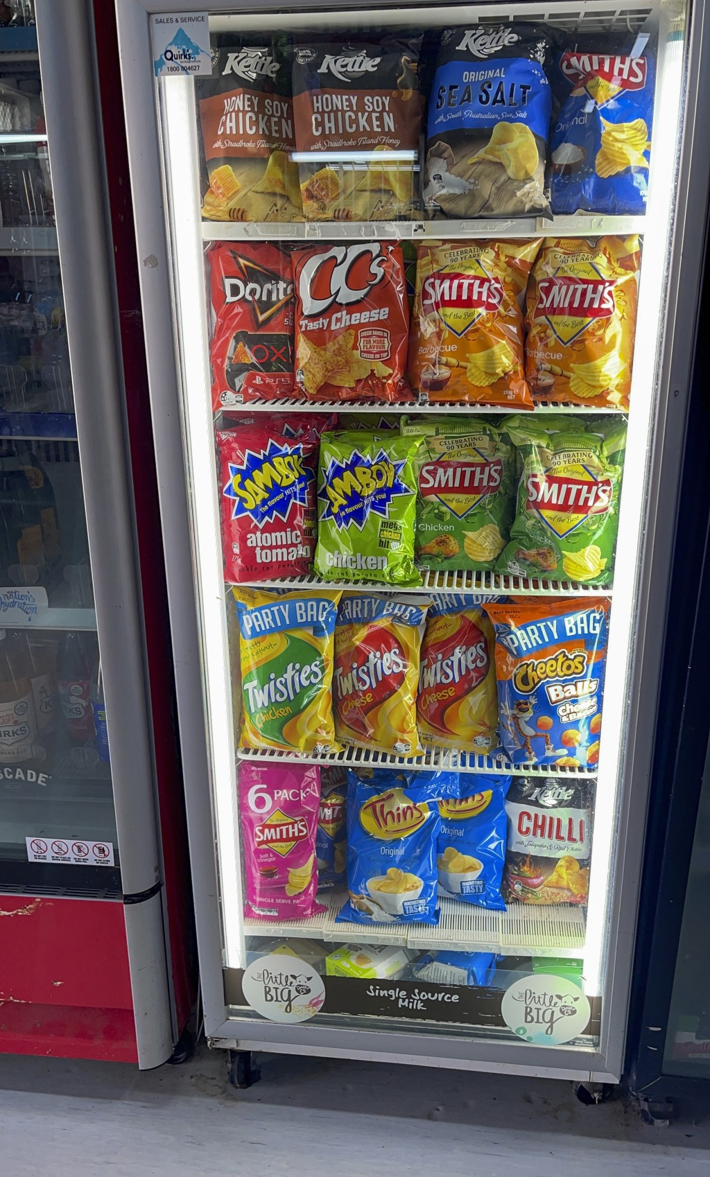 A fridge is stacked with chips in an effort to protect them from marauding mice at the Spar supermarket in the town of Gulargambone, Australia, on Mar...