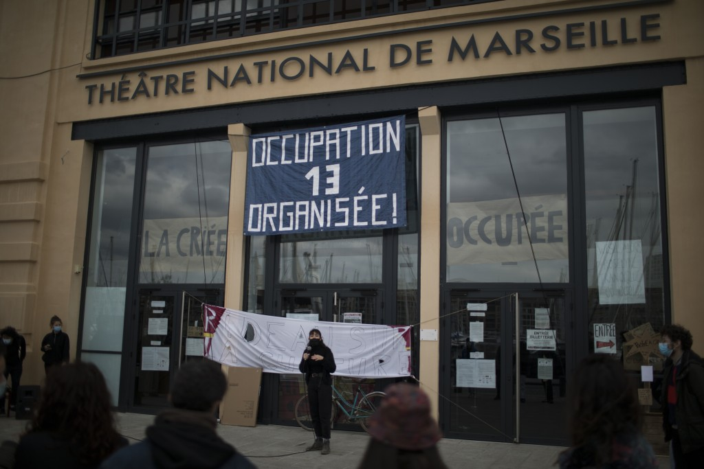 Culture workers, actors, students, and theater employees attend a general assembly at the occupied Theatre de La Criee in Marseille, southern France, ...
