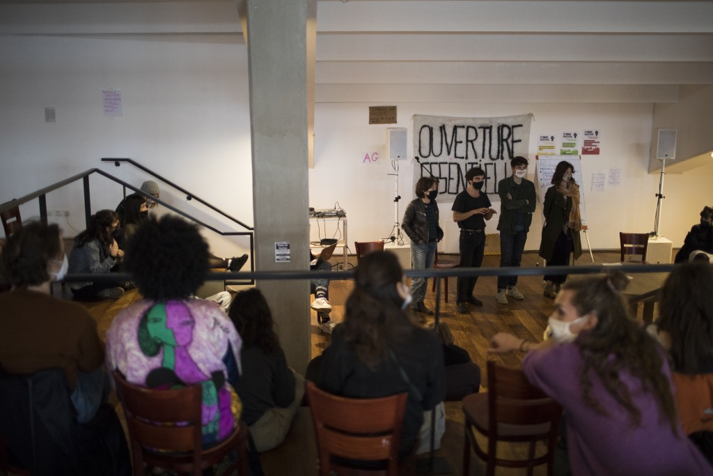 CORRECTING DATE TO 26 - Culture workers, actors, students, and theater employees attend a general assembly at the occupied Theatre de La Criee in Mars...