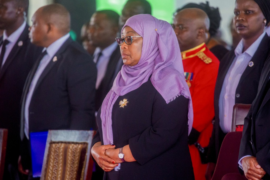 Tanzania's President Samia Suluhu Hassan attends the funeral service of former President John Magufuli in his home town of Chato, Tanzania Friday, Mar...