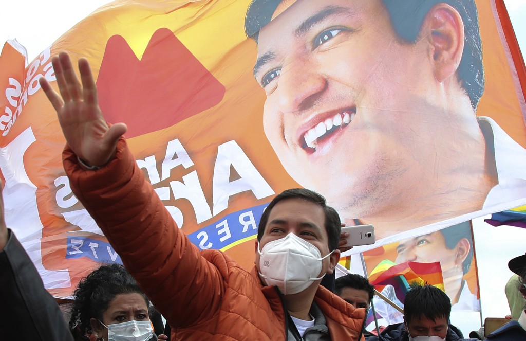 Andres Arauz, the United for Hope Alliance or UNES presidential candidate, greets supporters at a campaign rally  in Cochapamba, Ecuador, Saturday, Ma...