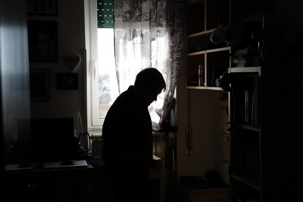 Matteo Coccimiglio in his room in Rome, Thursday, March 18, 2021. Matteo is an 18-year-old student who identifies as a man and is in the process of ch...