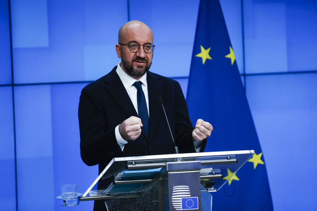European Council President Charles Michel speaks during an online joint press conference with Director General of the World Health Organization Tedros...