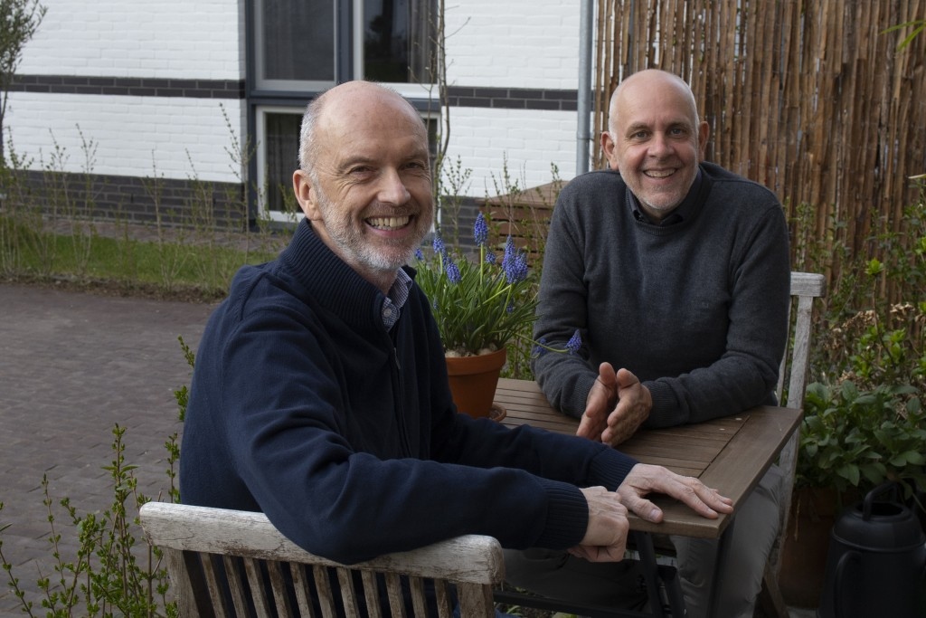 Gert Kasteel, right, and Dolf Pasker, left, one of the first four couples who tied the knot when same-sex marriage was legalized in the Netherlands, r...