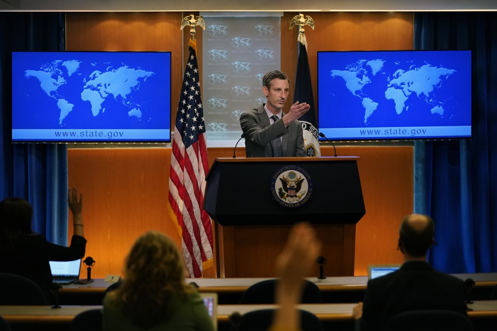 State Department spokesman Ned Price takes questions from reporters at the State Department in Washington, Wednesday, March 31, 2021. (AP Photo/Caroly...