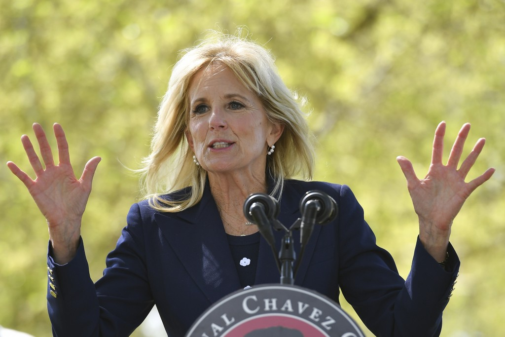 First lady Jill Biden speaks during a visit at The Forty Acres, the first headquarters of the United Farm Workers labor union, in Delano, Calif., Wedn...