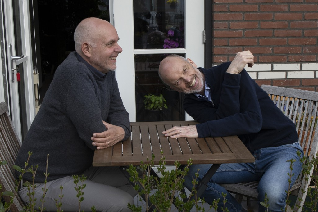 Gert Kasteel, left, and Dolf Pasker, right, one of the first four couples who tied the knot when same-sex marriage was legalized in the Netherlands, r...