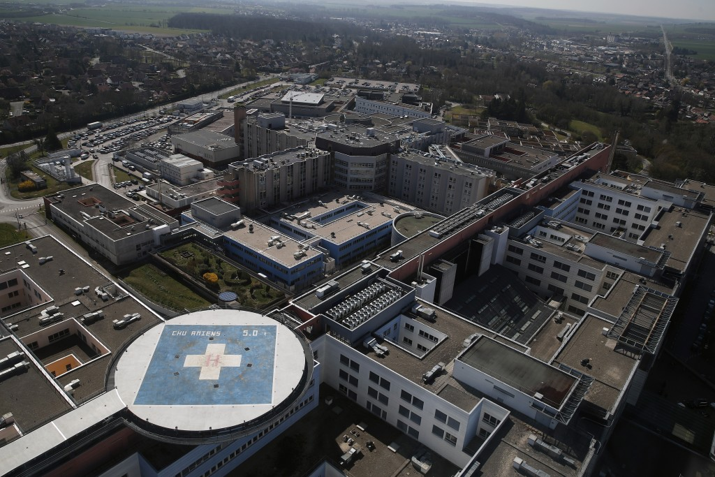 An aerial view of the Amiens Picardie hospital Tuesday, March 30, 2021 in Amiens, 160 km (100 miles) north of Paris. France is now facing a deadly new...