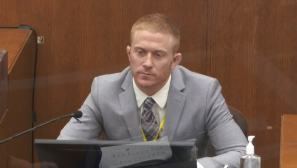 In this image from video, witness Derek Smith answers questions as Hennepin County Judge Peter Cahill presides Thursday, April 1, 2021, in the trial o...