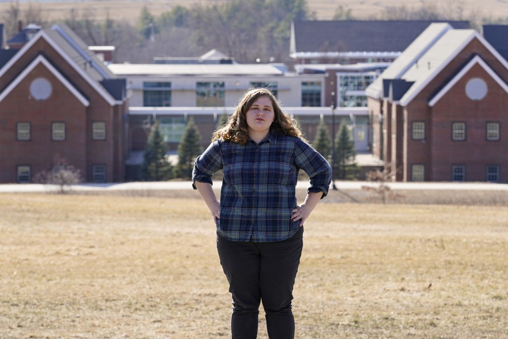 Mary Goddard poses outside the Sununu Youth Development Center, Tuesday, March 23, 2021, in Manchester, N.H. Goddard, a former intern at New Hampshire...