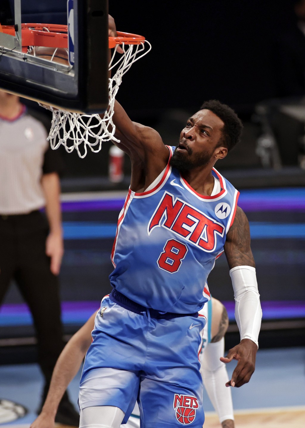 Brooklyn Nets forward Jeff Green dunks during the first half of the team's NBA basketball game against the Charlotte Hornets on Thursday, April 1, 202...