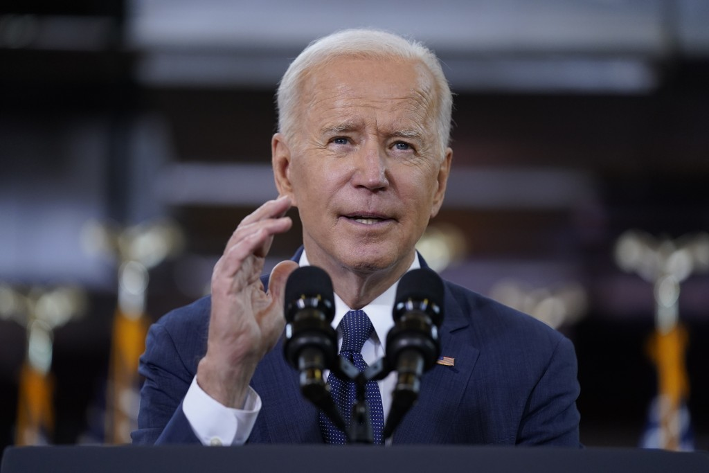 FILE - In this March 31, 2021, file photo President Joe Biden delivers a speech on infrastructure spending at Carpenters Pittsburgh Training Center in...