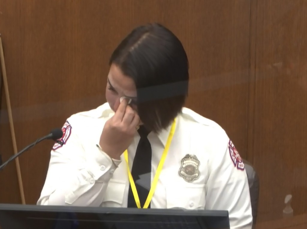 FILE - In this March 30, 2021 file image from video, Minneapolis Firefighter Genevieve Hansen wipes her eyes as she testifies at the trial of former M...