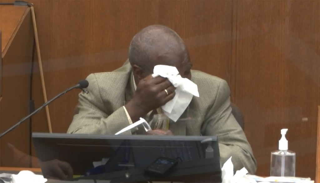 FILE - In this March 31, 2021 file image from video, witness Charles McMillian becomes emotional as he answers questions at the trial of former Minnea...