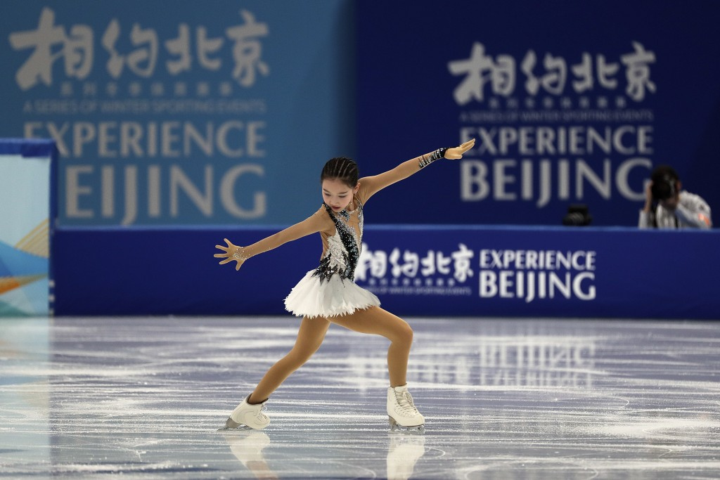 Chinese figure skater Xu Jingyu performs her women's single skating short programme during a test event for the 2022 Beijing Winter Olympics at the Ca...