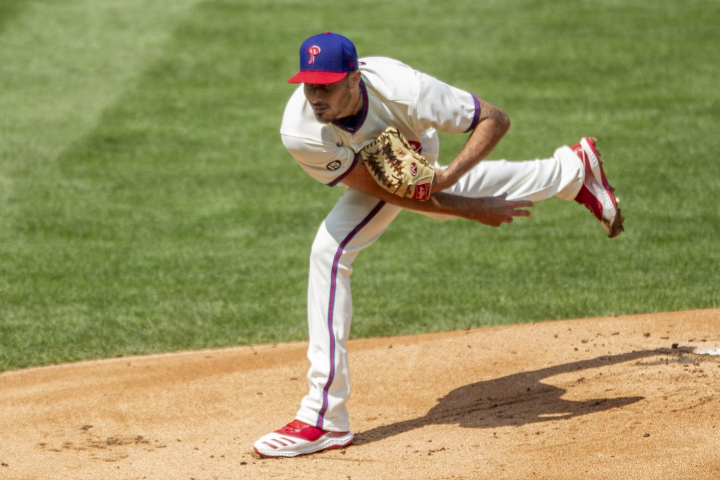 Philadelphia Phillies starting pitcher Zach Eflin throws during the first inning of a baseball game against the Atlanta Braves, Sunday, April 4, 2021,...