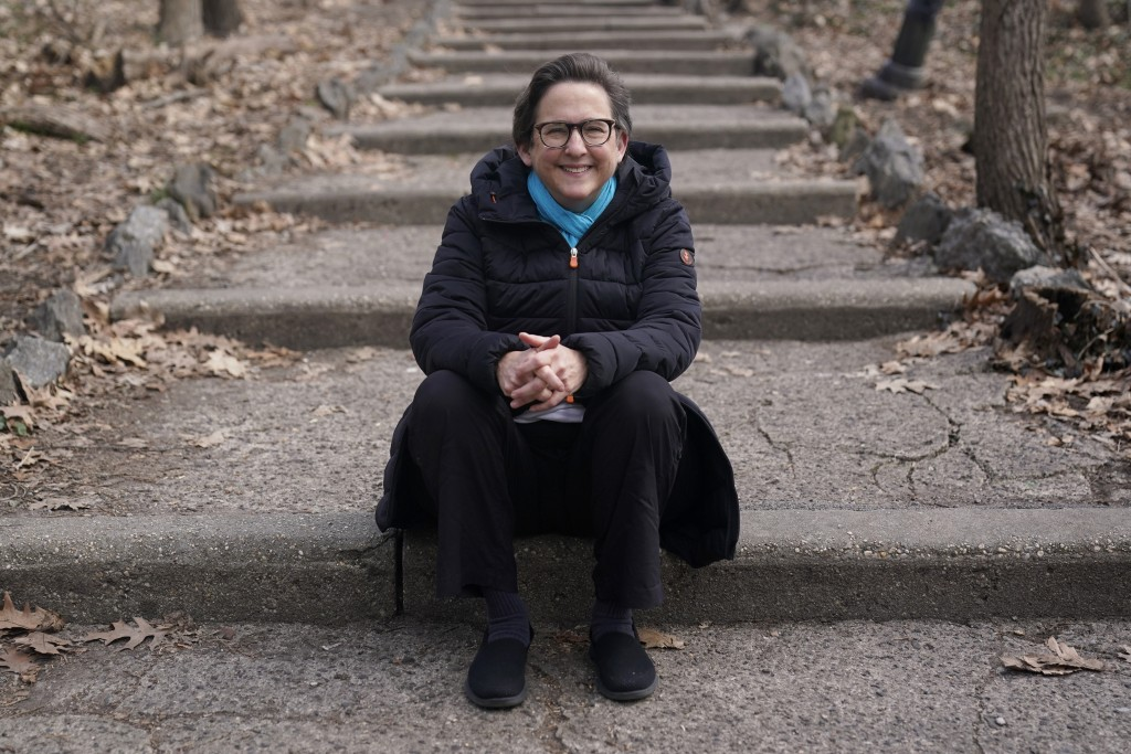 Rabbi Sharon Kleinbaum poses for a photo near her home in New York, Sunday, March 14, 2021. The pandemic has reminded Kleinbaum how her congregation w...