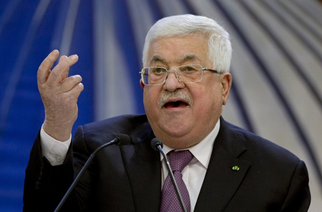 FILE - In this Jan. 22, 2020 file photo, Palestinian President Mahmoud Abbas speaks after a meeting of the Palestinian leadership in the West Bank cit...
