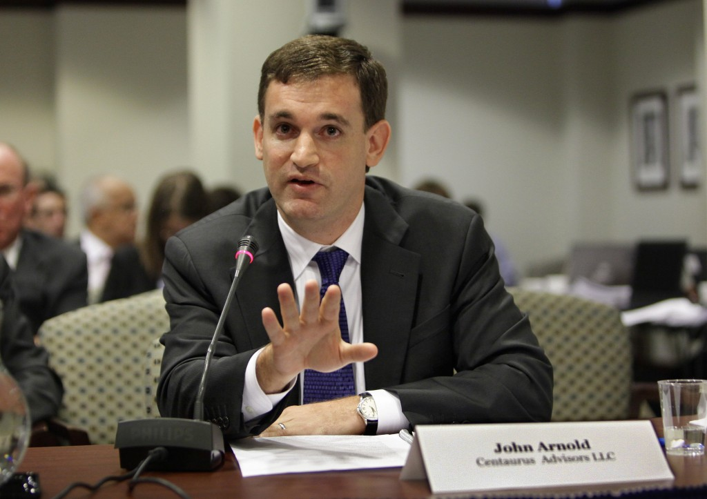 FILE - In this Aug. 5, 2009, file photo, John Arnold, then head of the hedge fund Centaurus Advisors of Houston, testifies before the The Commodity Fu...
