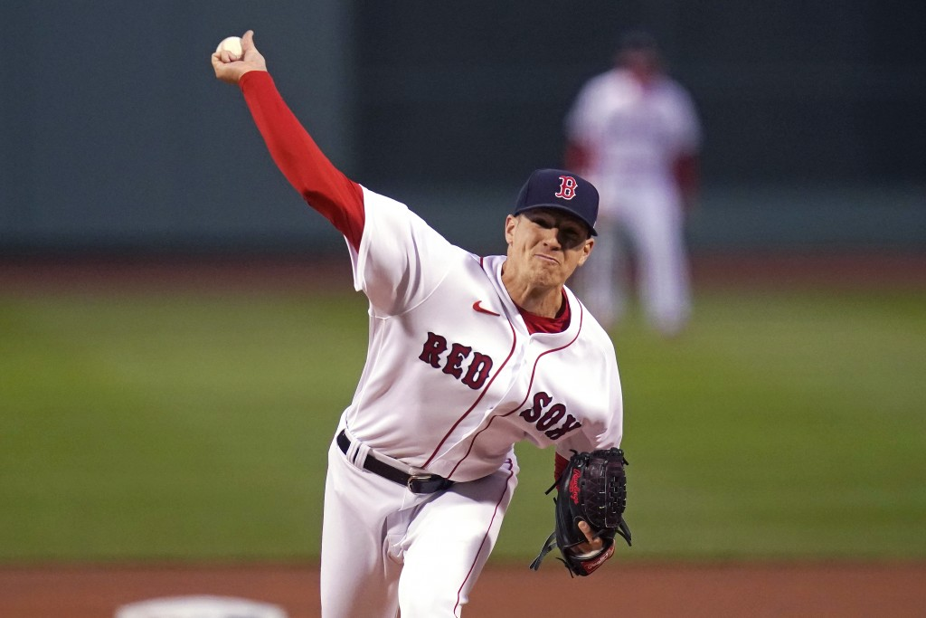 Boston Red Sox starting pitcher Nick Pivetta delivers to the Tampa Bay Rays during the first inning of a baseball game at Fenway Park, Monday, April 5...