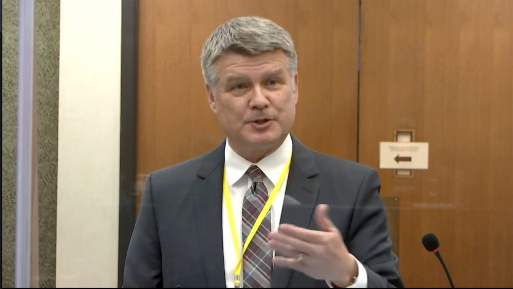 In this image from video, Assistant Minnesota Attorney General Matthew Frank speaks as Hennepin County Judge PeterCahill hears motions before the cou...