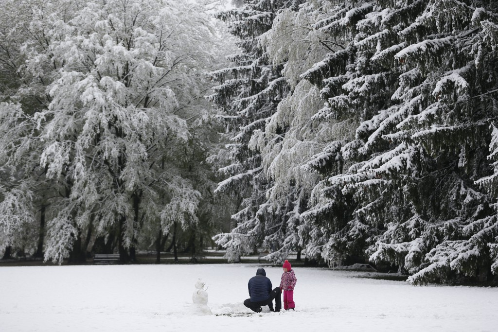 A child and an adult make a snowman in a park after a snowfall,  in Zagreb, Croatia, Tuesday, April 6, 2021. (AP Photo/Darko Bandic)