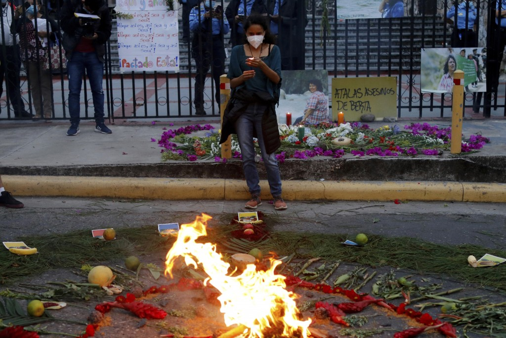 Berta Zuniga, a daughter of environmental and Indigenous rights activist Berta Caceres, takes part in a spiritual ceremony, a day before a trial again...