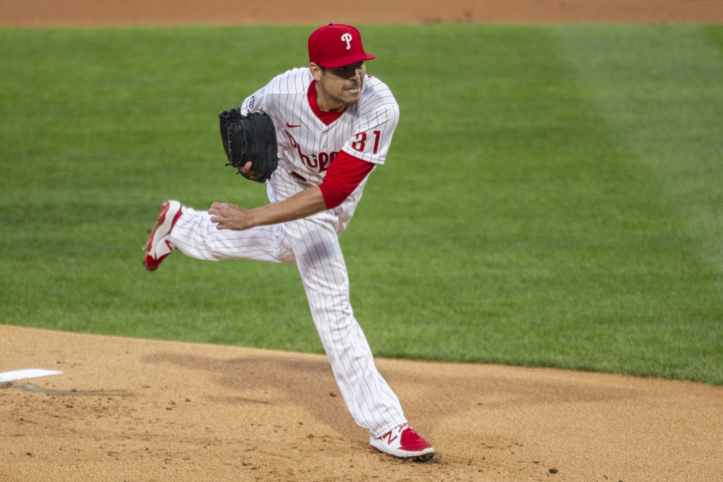 Philadelphia Phillies starting pitcher Matt Moore throws during the first inning of a baseball game against the New York Mets, Monday, April 5, 2021, ...
