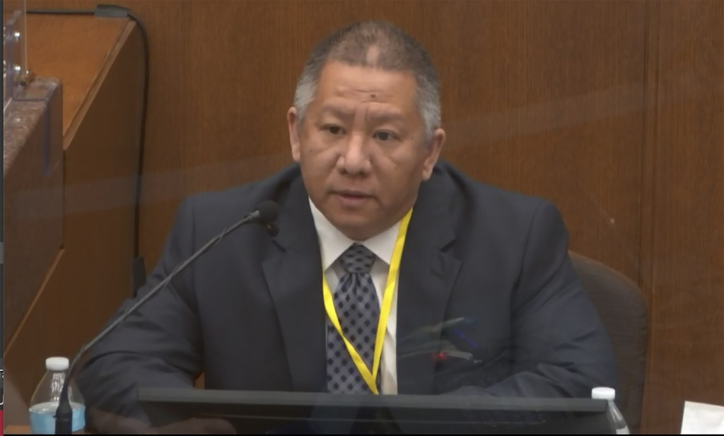 In this image from video, Minneapolis Police Crisis Intervention Coordinator Ker Yang testifies as Hennepin County Judge PeterCahill presides Tuesday...