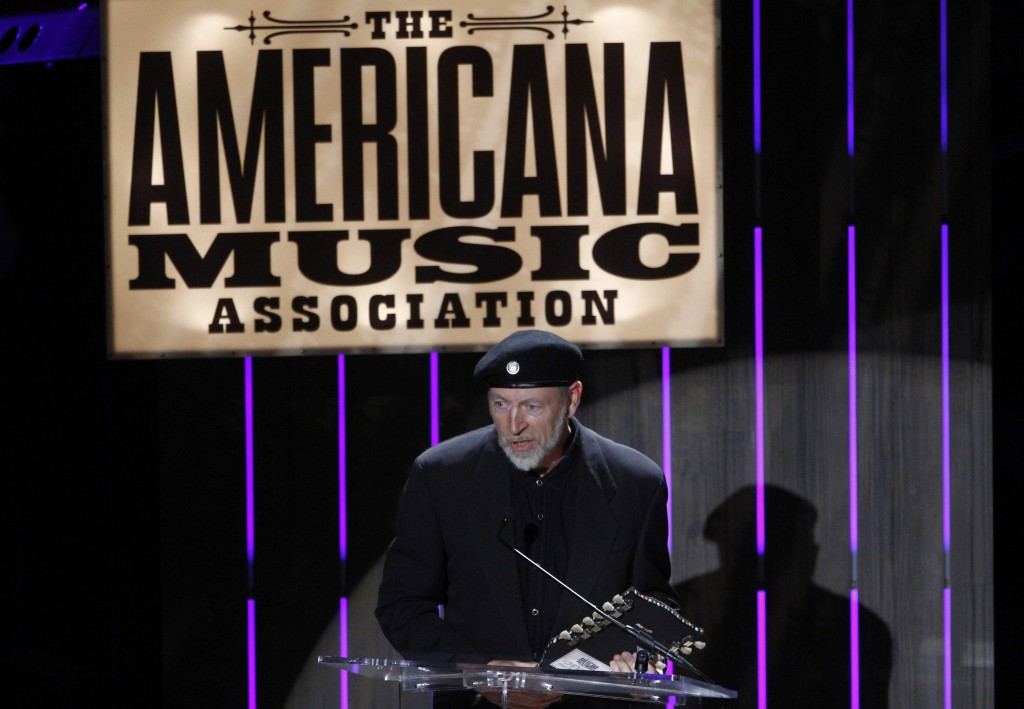 FILE - Richard Thompson accepts the Lifetime Achievement Songwriting Award at the 11th annual Americana Honors & Awards in Nashville on Sept. 12, 2012...