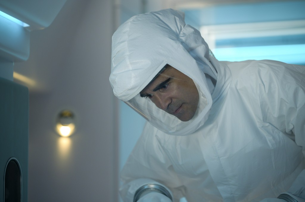 """This image released by Lionsgate shows Colin Farrell in a scene from """"Voyagers."""" (Vlad Cioplea/Lionsgate via AP)"""