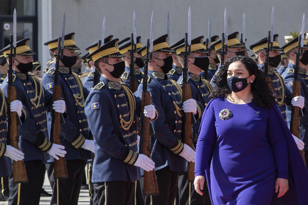 Kosovo newly elected president Vjosa Osmani-Sadriu, inspects the Guard of Honour during a presidential hand over ceremony in capital Pristina, Kosovo,...