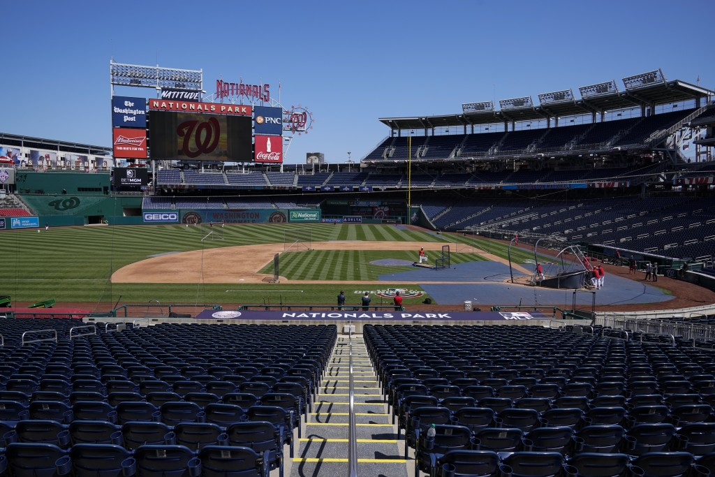 The Washington Nationals have a baseball workout at Nationals Park, Monday, April 5, 2021, in Washington. The Nationals had a conronavirus outbreak th...