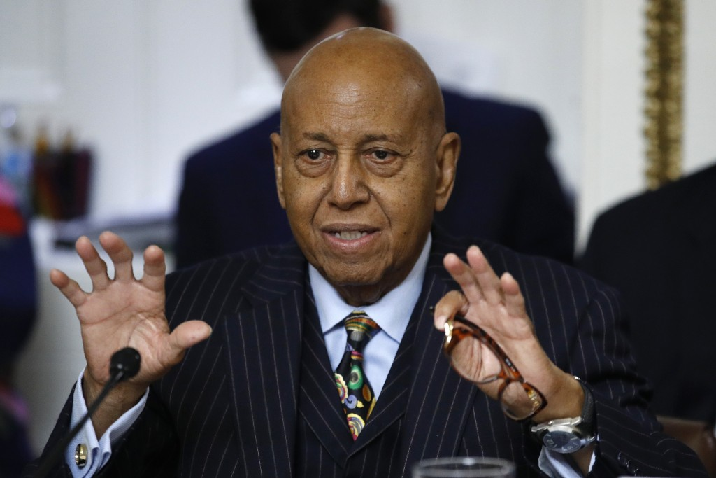 FILE - In this Dec. 17, 2019 file photo, Rep. Alcee Hastings, D-Fla., speaks during a House Rules Committee hearing on the impeachment against Preside...