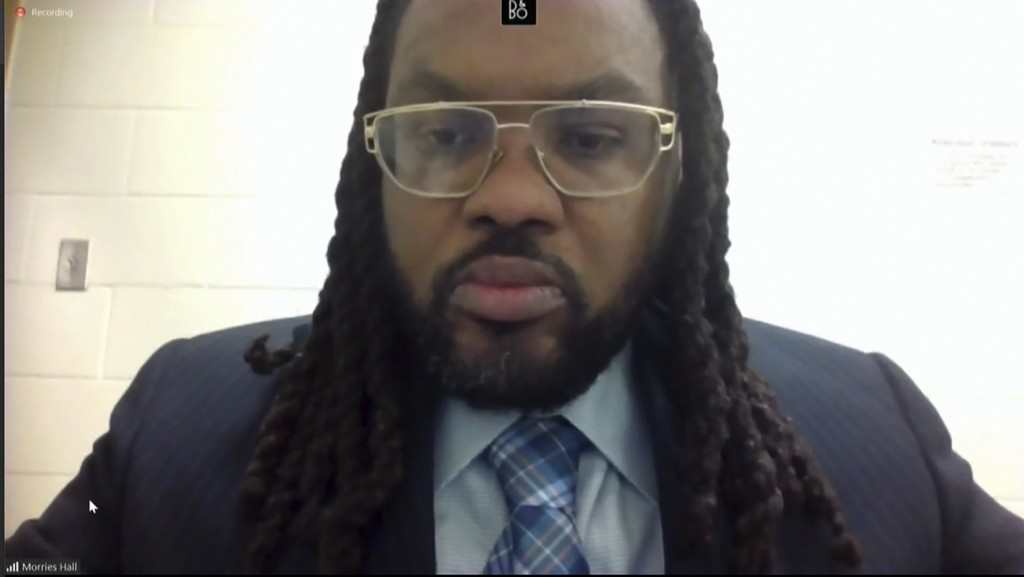 In this image from video, Morries Hall appears via video as Hennepin County Judge PeterCahill discusses motions before the court Tuesday, April 6, 20...