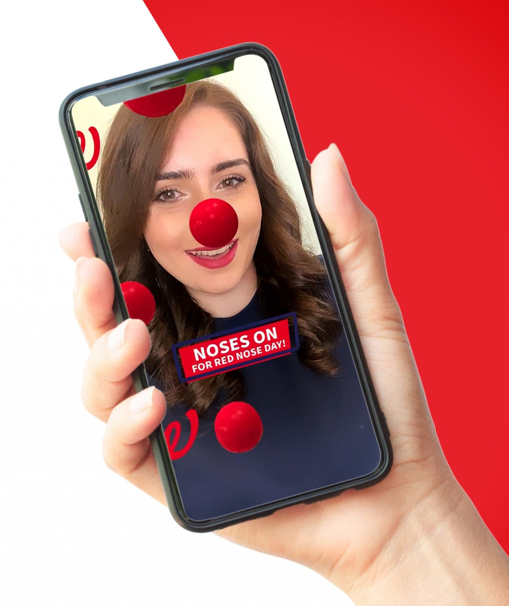 This undated photo provided by Comic Relief's Red Nose Day shows the virtual Red Nose that donors can purchase to show their support of the Red Nose D...