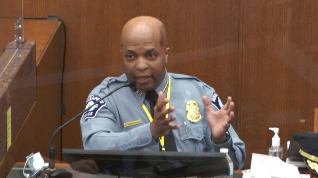 In this image from video, witness Minneapolis Police Chief Medaria Arradondo testifies as Hennepin County Judge Peter Cahill presides Monday, April 5,...