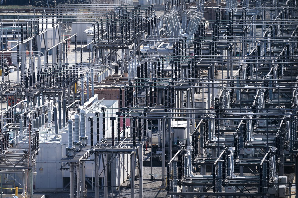 A ConEd substation in Brooklyn is part of New York's infrastructure, Tuesday, April 6, 2021 in New York. With an appeal to think big, President Joe Bi...