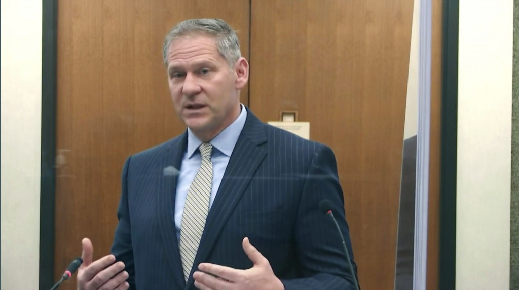 In this image from video, prosecutorSteve Schleicher questions witness Los Angeles police department Sgt. Jody Stiger, as Hennepin County Judge Peter...