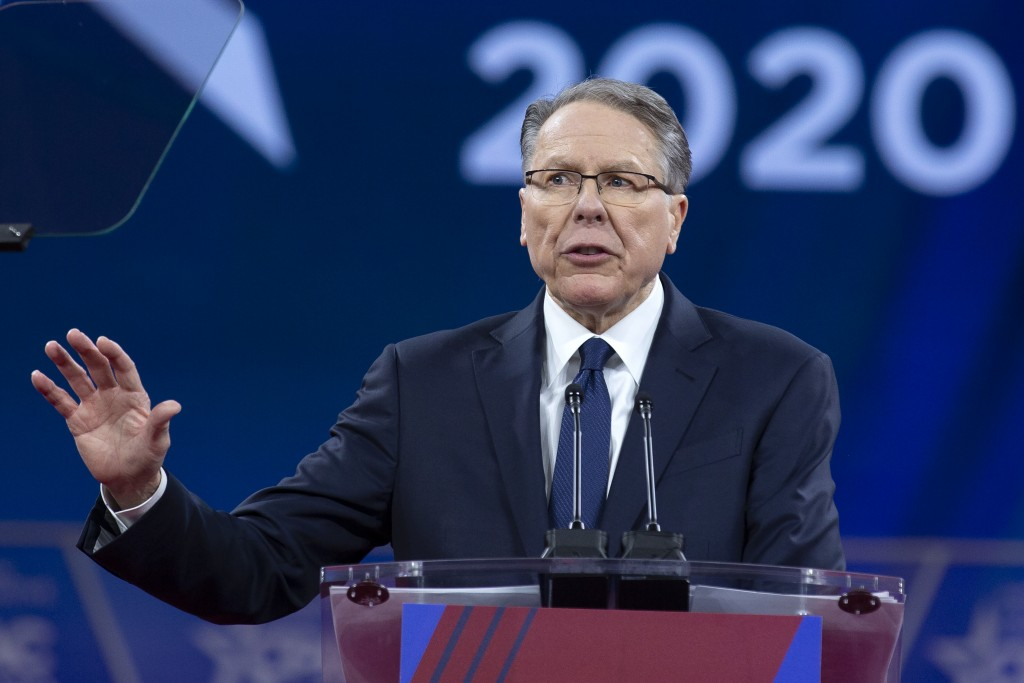 FILE - In this Saturday, Feb. 29, 2020, file photo, National Rifle Association Executive Vice President and CEO Wayne LaPierre speaks at the Conservat...