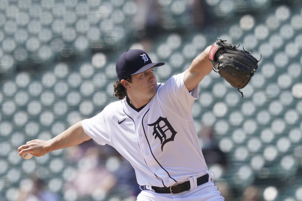 Detroit Tigers starting pitcher Casey Mize throws during the first inning of a baseball game against the Minnesota Twins, Tuesday, April 6, 2021, in D...