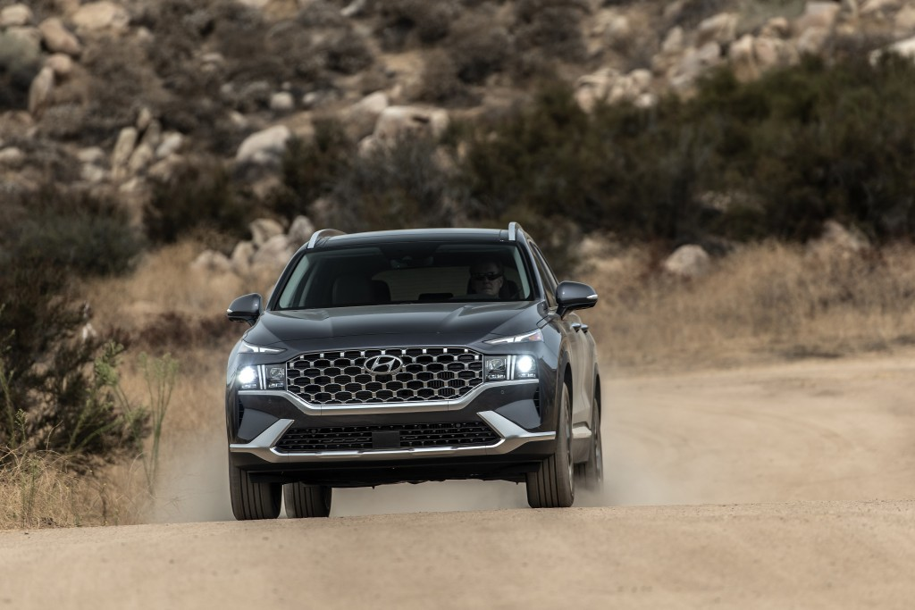 This photo provided by Hyundai shows the 2021 Santa Fe with new styling, upgraded available engines and a lot of equipment at an attractive price. (Dr...