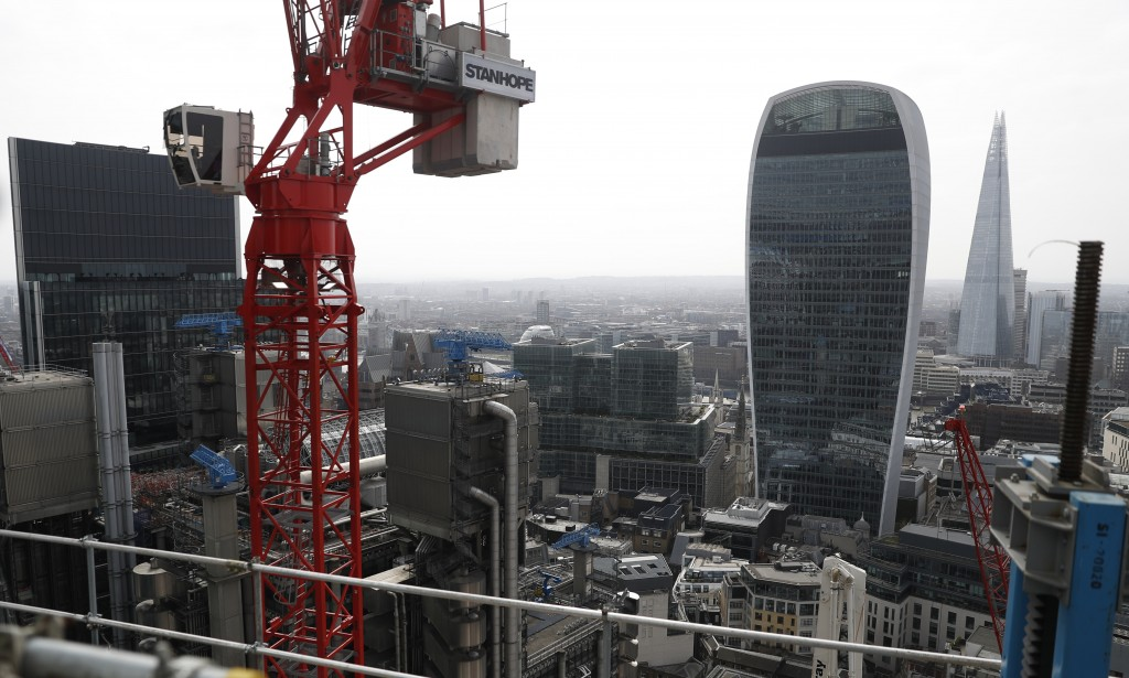 A view from the top of the north central column of the 8 Bishopsgate development in London, Thursday, April 1, 2021. When the pandemic struck, about 5...