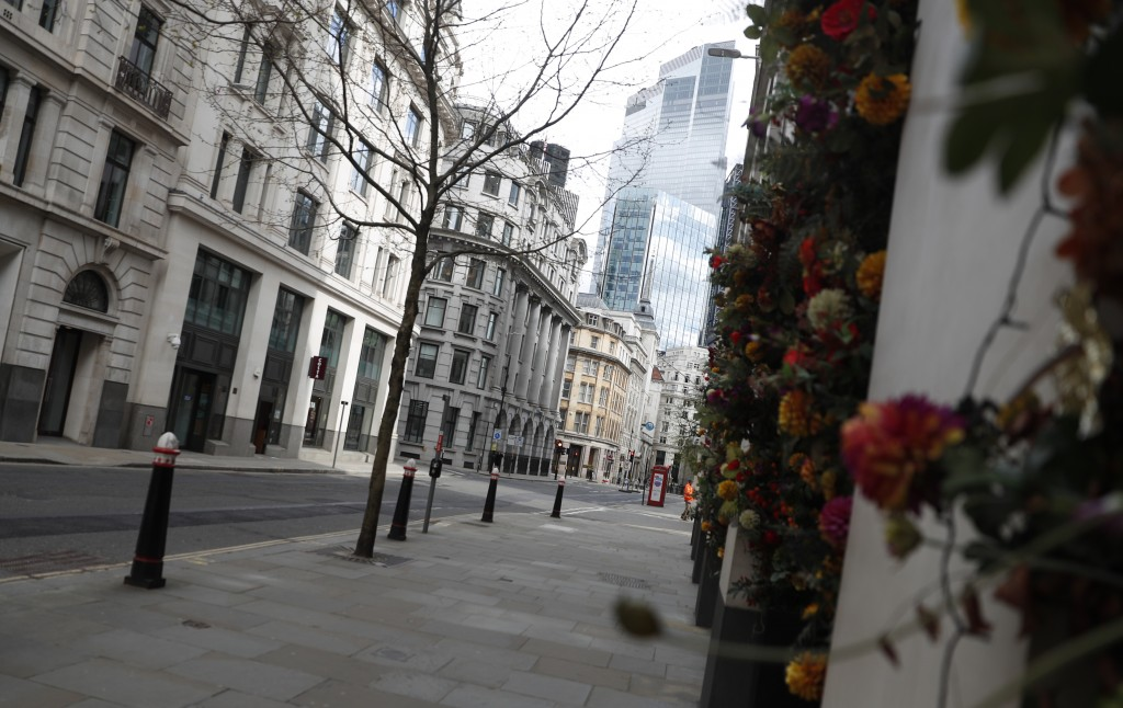 A view of Gresham street empty of traffic in the City of London, Tuesday, April 6, 2021. When the pandemic struck, about 540,000 workers vanished from...