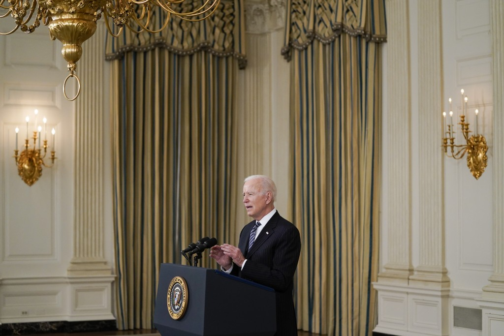 President Joe Biden delivers remarks about vaccinations, in the State Dining Room of the White House, Tuesday, April 6, 2021, in Washington. (AP Photo...