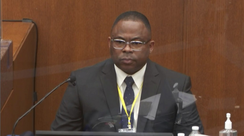 In this image from video, witness Jody Stiger, a Los Angeles Police Department sergeant testifies as Hennepin County Judge PeterCahill presides Wedne...