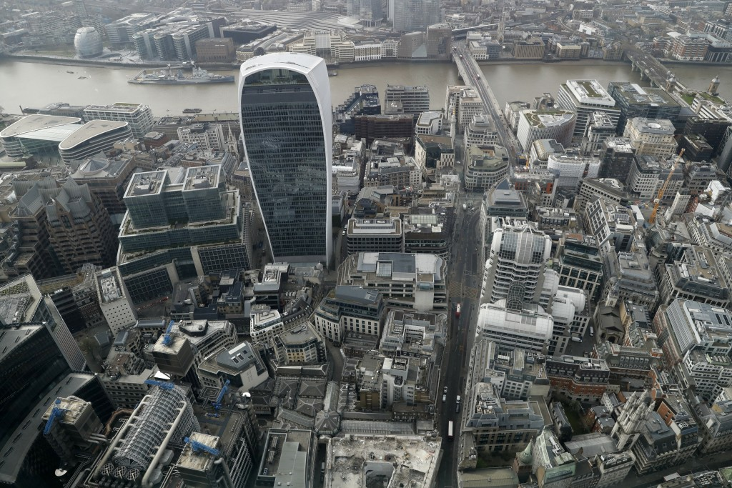 A view over the City of London taken from the 59th floor of 22 Bishopsgate in London, Thursday, April 1, 2021. When the pandemic struck, about 540,000...