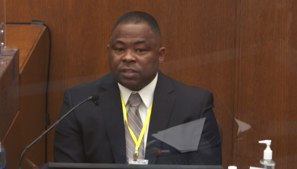 In this image from video, witness Jody Stiger, a Los Angeles Police Department sergeant testifies as Hennepin County Judge PeterCahill presides Tuesd...